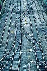 View of railway tracks on approach to Waverley Station in Edinburgh, Scotland, United Kingdom