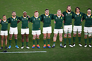 South Africa players observe the playing of the national anthem before the Rugby World Cup  final match between England and South Africa at the International Stadium ,  Saturday, Nov. 2, 2019, in Yokohama, Japan. South Africa defeated England 32-12. (Florencia Tan Jun/ESPA-Image of Sport)
