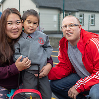 Jared  gets ready for his 1st day at school with his parents Myra and John Hudson