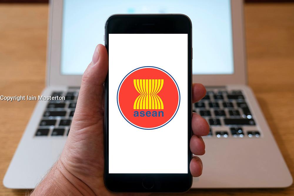 ASEAN financial organisation homepage on iPhone smart phone mobile phone