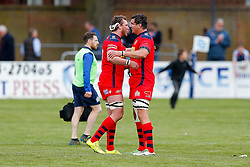 replacement Nick Koster and replacement Mark Sorenson celebrate after Bristol win the match 16-45 to take a 29 point lead into the 2nd leg at Ashton Gate - Mandatory byline: Rogan Thomson/JMP - 01/05/2016 - RUGBY UNION - Goldington Road - Bedford, England - Bedford Blues v Bristol Rugby - Greene King IPA Championship Play Off Semi Final 1st Leg.