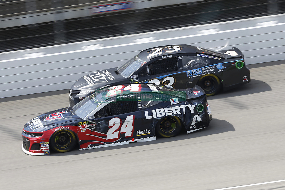 August 12, 2018 - Brooklyn, Michigan, United States of America - William Byron (24) and Blake Jones (23) battle for position during the Consumers Energy 400 at Michigan International Speedway in Brooklyn, Michigan. (Credit Image: © Chris Owens Asp Inc/ASP via ZUMA Wire)