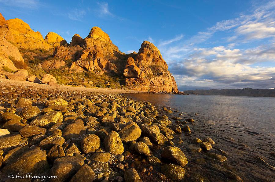 Rocky shoreline on Isla Carmen in the Gulf of California near Loreto Mexico