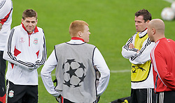 MILAN, ITALY - Monday, March 10, 2008: Liverpool's Steven Gerrard, John Arne Riise and Jamie Carragher training at the San Siro Stadium ahead of the UEFA Champions League First knockout round 2nd Leg match against FC Internazionale Milano. (Pic by David Rawcliffe/Propaganda)