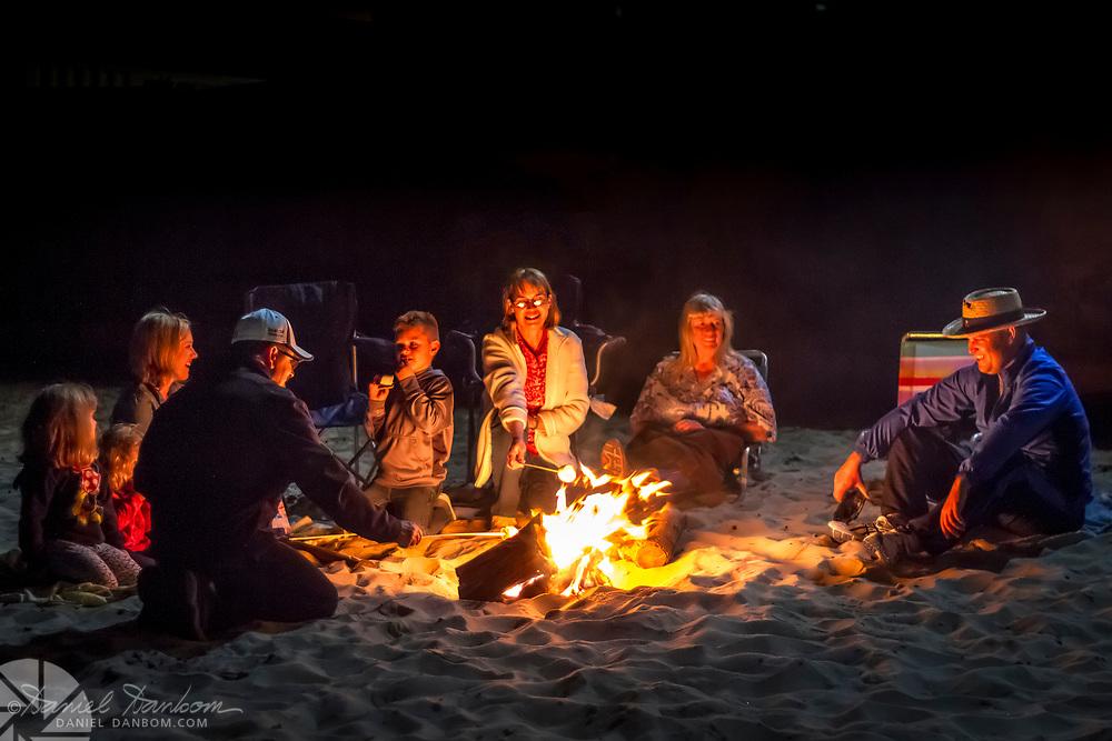 Family Beach Fire