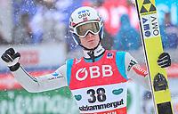 Hopp , BAD MITTERNDORF,AUSTRIA,15.JAN.16 - NORDIC SKIING, SKI JUMPING, SKI FLYING - FIS World Championships, Kulm, men. Image shows the rejoicing of Kenneth Gangnes (NOR).<br /> Norway only