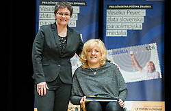 Coach Polona Sladic and Veselka Pevec at Presentation of a new stamp issued by Posta Slovenije with picture of Veselka Pevec, Paralympic shooting Gold medallist in Rio 2016, photographed by Vid Ponikvar, on December 7, 2016 in Videm, Slovenia. Photo by Vid Ponikvar / Sportida