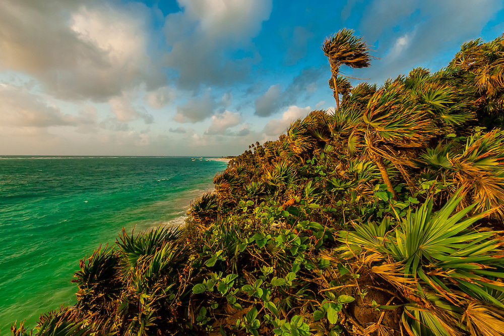 Sunrise on the Caribbean Sea at the Tulum archaeological site, Riviera Maya, Mexico