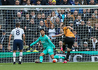 Football - 2019 / 2020 Premier League - Tottenham Hotspur vs. Wolverhampton Wanderers<br /> <br /> Matt Doherty (Wolverhampton Wanderers) scores from point blank range past (Tottenham FC) at The Tottenham Hotspur Stadium.<br /> <br /> COLORSPORT/DANIEL BEARHAM