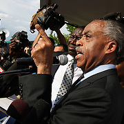 The Reverand Al Sharpton speaks to the crowd during a rally for the shooting of Trayvon Martin on Thursday,March 22, 2012 at Fort Mellon Park in Sanford, Florida. (AP Photo/Alex Menendez) Trayvon Martin rally in Sanford, Florida.