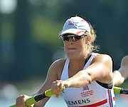 Poznan, POLAND,   GBR W2-, Louisa REEVE, competing in the heats of the women's pair, on the first day of the, 2009 FISA World Rowing Championships. held on the Malta Rowing lake, Sunday 23/08/2009 [Mandatory Credit. Peter Spurrier/Intersport Images]