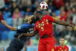 (l-r) Raphael Varane of France, Romelu Lukaku of Belgium during the 2018 FIFA World Cup Semi Final match between France and Belgium at the Saint Petersburg Stadium on June 26, 2018 in Saint Petersburg, Russia