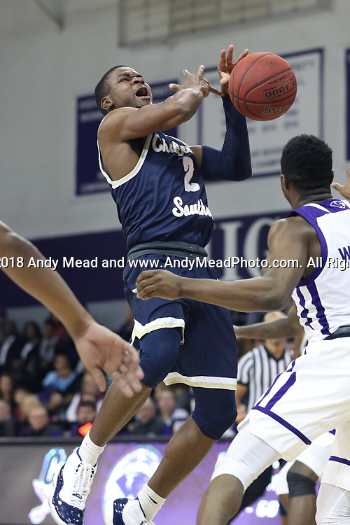 HIGH POINT, NC - JANUARY 06: Charleston Southern's Cortez Mitchell (2) gets fouled. The High Point University of Panthers hosted the Charleston Southern University Buccaneers on January 6, 2018 at Millis Athletic Convocation Center in High Point, NC in a Division I men's college basketball game. HPU won the game 80-59.