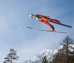 23.03.2013, Planica, Kranjska Gora, SLO, FIS Ski Sprung Weltcup, Skifliegen, Team, Probedurchgang, im Bild Andraz Pograjc (SLO) // Andraz Pograjc of Slovenia during his trial jump of the FIS Skijumping Worldcup Team Flying Hill, Planica, Kranjska Gora, Slovenia on 2013/03/23. EXPA Pictures © 2012, PhotoCredit: EXPA/ Juergen Feichter