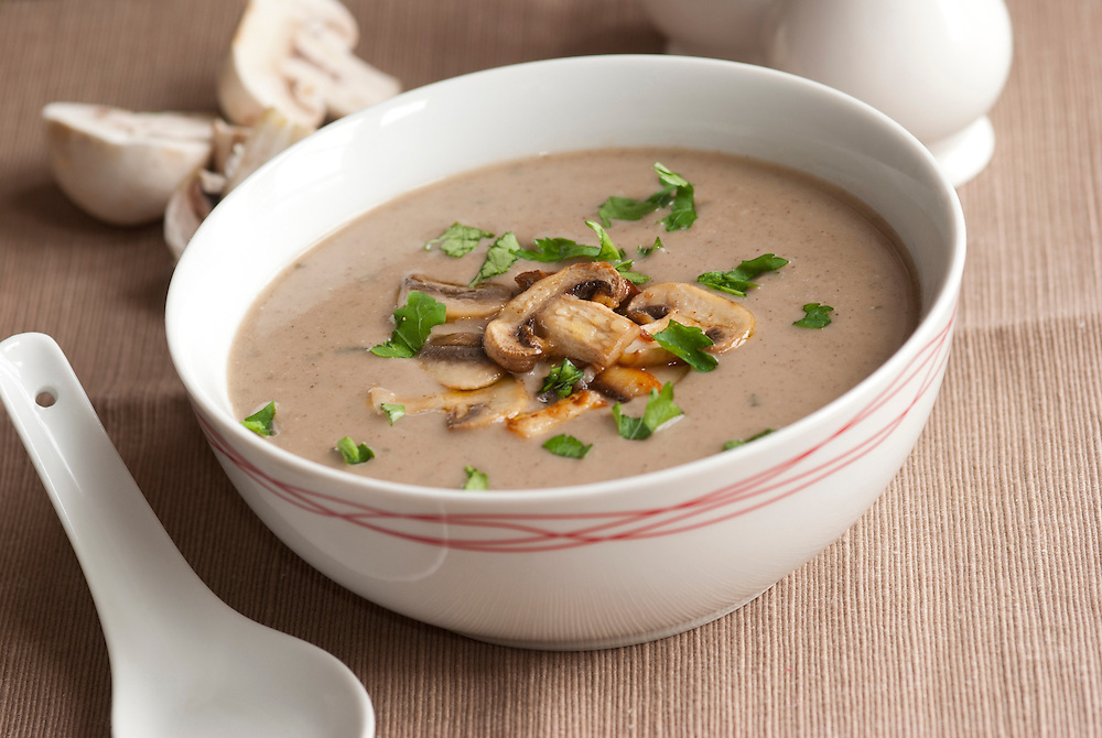 Freshly made mushroom soup in a bowl