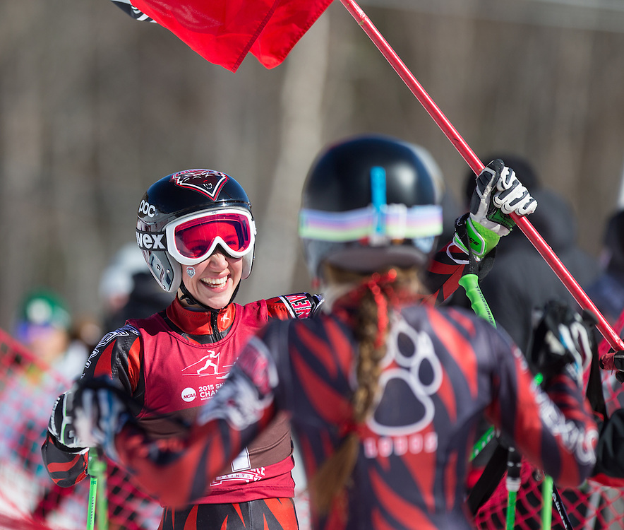 Mateja Robnik of the University of New Mexico, after winning the Women's Giant Slalom at the NCAA Division I Skiing Championships on March 12, 2015 in Wilmington, NY. (Dustin Satloff/Colby College Athletics)