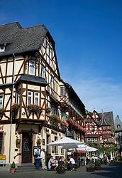 Main street in Bacharach in Rhineland beside River Rhine Germany