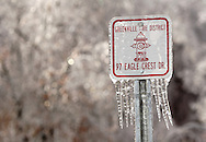 Greenville, NY - Icicles hang from a sign after an ice storm on Dec. 14, 2008.