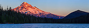 USA, Oregon, Mt. Hood National Forest, Lost Lake,  sunset approaching, Digital Composite, panorama.