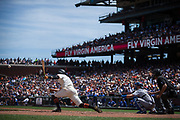 San Francisco Giants right fielder Hunter Pence (8) stretches for a hit against the Los Angeles Dodgers at AT&T Park in San Francisco, California, on April 27, 2017. (Stan Olszewski/Special to S.F. Examiner)