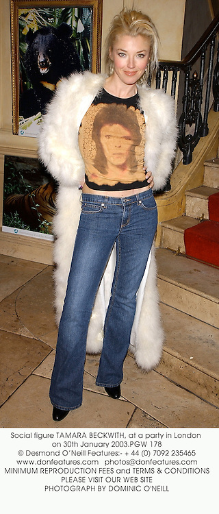 Social figure TAMARA BECKWITH, at a party in London on 30th January 2003.PGW 178