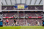 Picture by Andrew Tobin/SLIK images +44 7710 761829. 2nd December 2012. Israel Dagg of New Zealand watches an Owen Farrell penalty go over the bar during the QBE Internationals match between England and the New Zealand All Blacks at Twickenham Stadium, London, England. England won the game 38-21.