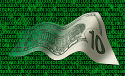 ten dollar bill floating threw background of computer code