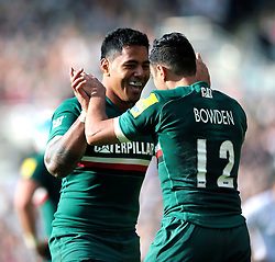 Leicester Tigers centre Manu Tuilagi congratulates Dan Bowden on his try - Photo mandatory by-line: Patrick Khachfe/JMP - Tel: Mobile: 07966 386802 - 21/09/2013 - SPORT - RUGBY UNION - Welford Road Stadium - Leicester Tigers v Newcastle Falcons - Aviva Premiership.