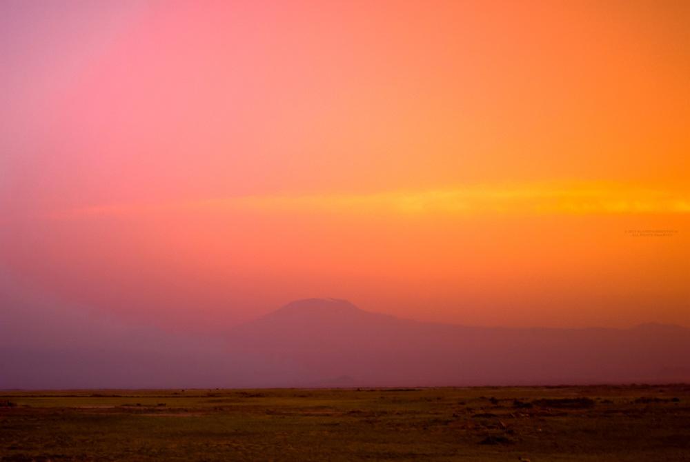 Mount Kilimanjaro at sunset, seen from Amboseli National Park, Kenya