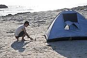Israel, Coastal plains, Habonim Beach, Israeli vacationers on the sea shore