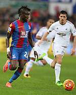 Pape Souare of Crystal Palace in action. Barclays Premier league match, Swansea city v Crystal Palace at the Liberty Stadium in Swansea, South Wales on Saturday 6th February 2016.<br /> pic by Andrew Orchard, Andrew Orchard sports photography.