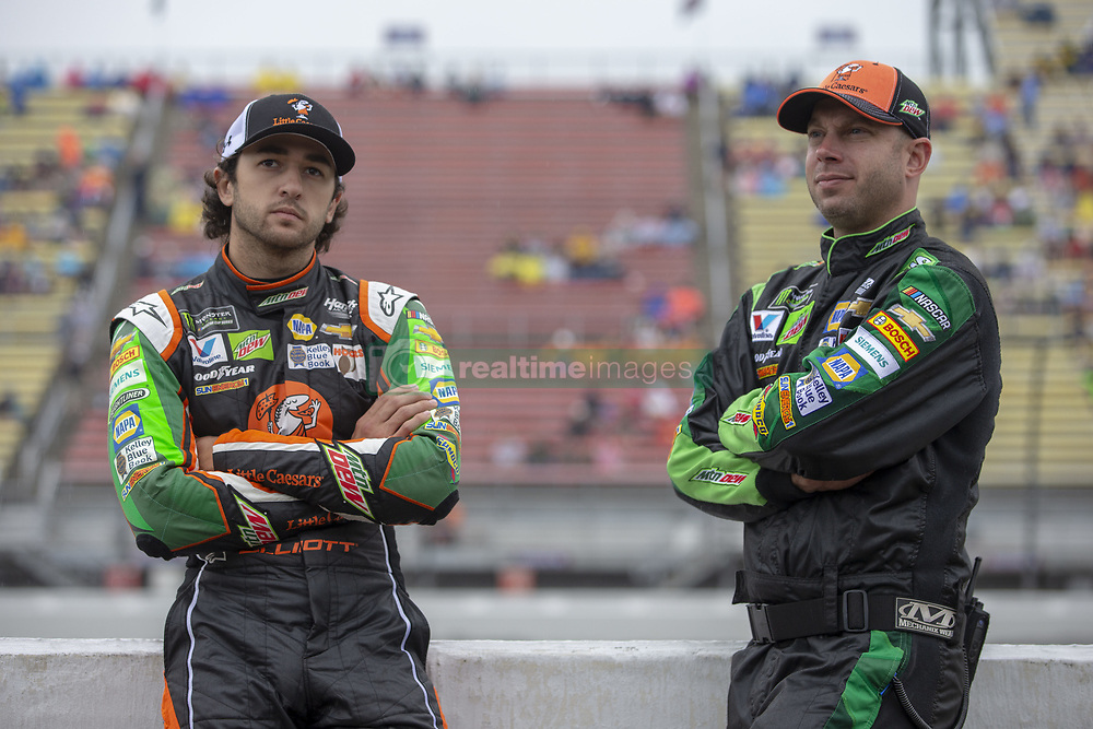 June 10, 2018 - Brooklyn, Michigan, United States of America - Chase Elliott (9) waits for the start of the FireKeepers Casino 400 during a weather delay at Michigan International Speedway in Brooklyn, Michigan. (Credit Image: © Stephen A. Arce/ASP via ZUMA Wire)