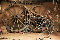 Wooden wagon wheels and  bicycle sum up most local rural transport. KATAKPADA Village is low caste with many people being labourers although some do have greater resources and keep animals.  Prem assists this village kindergarten.
