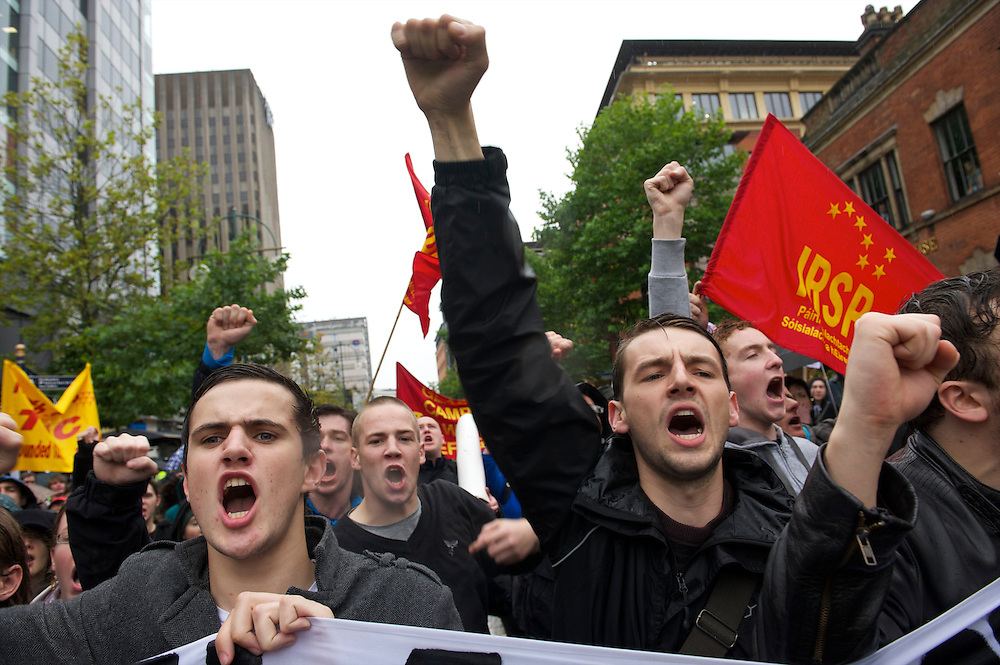 An estimated 5,000 protestors marched the streets of Birmingham to voice their opposition of Prime Minister David Cameron and the Conservatives on the first day of party conference at the ICC, Birmingham, UK on October 3, 2010.  This is the first conference since the government coalition with the Liberal Democrats.