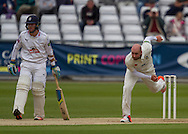 Chris Rushworth (Durham County Cricket Club) bowls watched by none striking batsman Will Smith\ (Hampshire CCC) during the LV County Championship Div 1 match between Durham County Cricket Club and Hampshire County Cricket Club at the Emirates Durham ICG Ground, Chester-le-Street, United Kingdom on 2 September 2015. Photo by George Ledger.