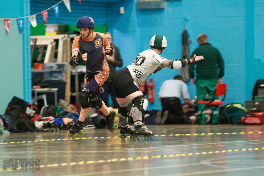 Manchester's Chaos Engine take on Glasgow Mens Roller Derby at the Triple Header, Salford University Sports Centre, Salford, Greater Manchester, 2019-11-30