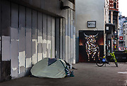 Homless person camping by Shoreditch Station during the coronavirus pandemic on the 4th May 2020 in London, United Kingdom.
