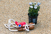 © Licensed to London News Pictures. 23/04/2014. New Malden, UK. A child's skipping rope left as a tribute at the scene  The scene in New Malden where a woman has been arrested after the discovery of three bodies of children in a house overnight. Photo credit : Stephen Simpson/LNP