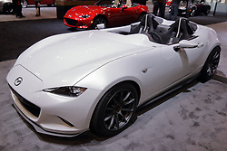 09 February 2017:  Mazda 2017 MX5 Miata convertible speedster<br /> <br /> First staged in 1901, the Chicago Auto Show is the largest auto show in North America and has been held more times than any other auto exposition on the continent.  It has been  presented by the Chicago Automobile Trade Association (CATA) since 1935.  It is held at McCormick Place, Chicago Illinois<br /> #CAS17