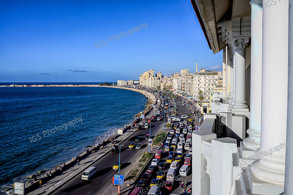 Looking at Traffic on the Corniche in Alexandria, ftom the historic Cecil Hotel