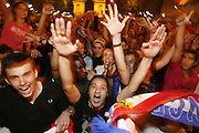 Paris, France. June 27th 2006..People celebrate on the Champs Elysees after France won against Spain during their 1/8 finals game of the World Cup...