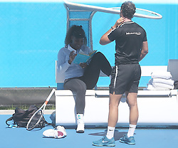 AU_1444734 - Perth, AUSTRALIA  -  Serena Williams training session in Perth, at the RAC Arena in Perth,Western Australia<br /> <br /> Pictured: Serena Williams<br /> <br /> BACKGRID Australia 30 DECEMBER 2018 <br /> <br /> BYLINE MUST READ: FAMO / BACKGRID<br /> <br /> Phone: + 61 2 8719 0598<br /> Email:  photos@backgrid.com.au