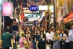 Busy street at night in Lan Kwai Fong entertainment district of Hong Kong china