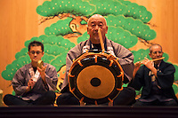 """Ceremonial music or """"kagura""""- entertainment of the gods, is often heard at Shinto shrines throughout Japan, especially during one of their many festivals held throughout the year. These ensembles are typically made up of flute, drum, and small cymbals."""
