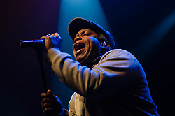 "© Licensed to London News Pictures. 08/03/2013. London, UK.   Corey Glover of Living Colour performing live at KOKO at the band's only UK date on their tour celebrating the 25th Year Anniversary for their debut album Vivid.  In 1990 they won a Grammy Award for Best Hard Rock Performance for their song ""Cult of Personality"", which featured on ""Vivid"".  The band formed in New York City in 1984 and consist of Vernon Reid (guitar), Corey Glover (vocals), Will Calhoun (drums) , and Doug Wimbish (bass).  Photo credit : Richard Isaac/LNP"