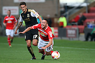 Bradden Inman of Crewe Alexandra is fouled by Bradley Barry of Swindon Town. Skybet football league 1 match, Crewe Alexandra v Swindon Town at The Alexandra Stadium in Crewe, Cheshire on Saturday 5th September 2015.<br /> pic by Chris Stading, Andrew Orchard sports photography.