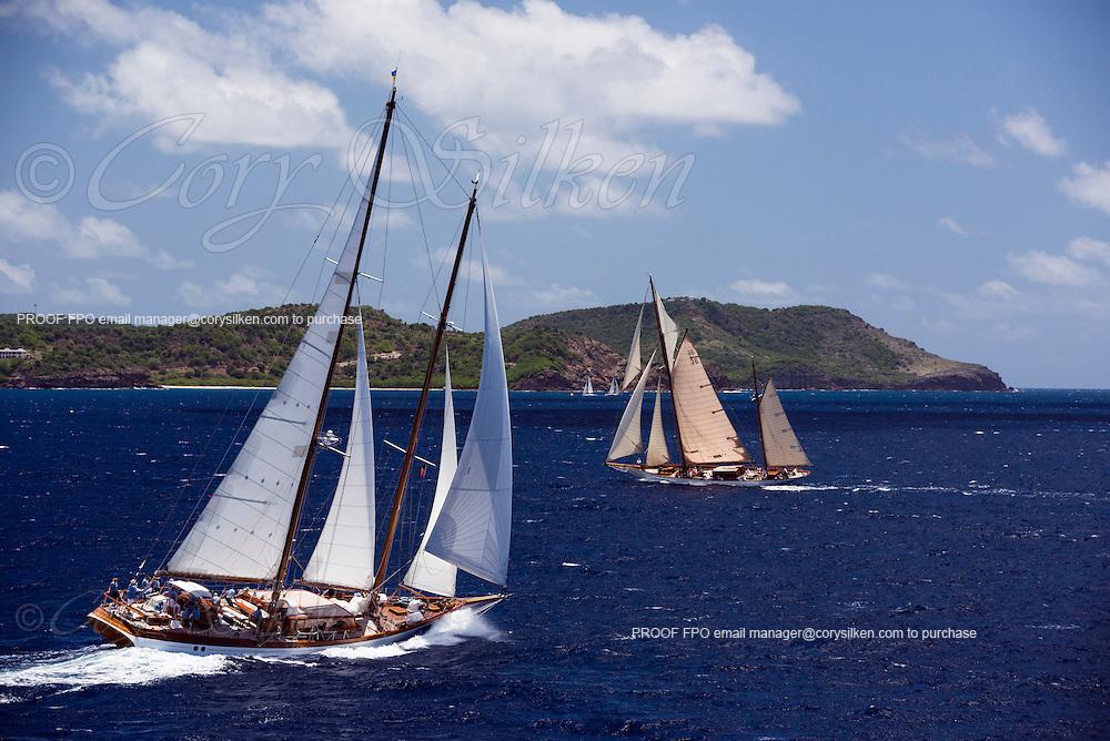 Seljm and Thendara sailing in the Antigua Classic Yacht Regatta, Windward Race.