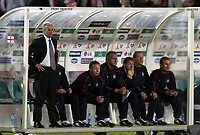 Photo. Jed Wee.<br /> Poland v England, World Cup Qualifier, Stadion Slaski, 08/09/2004.<br /> The England bench are shell shocked at England throw away a lead yet again<br /> <br /> NORWAY ONLY