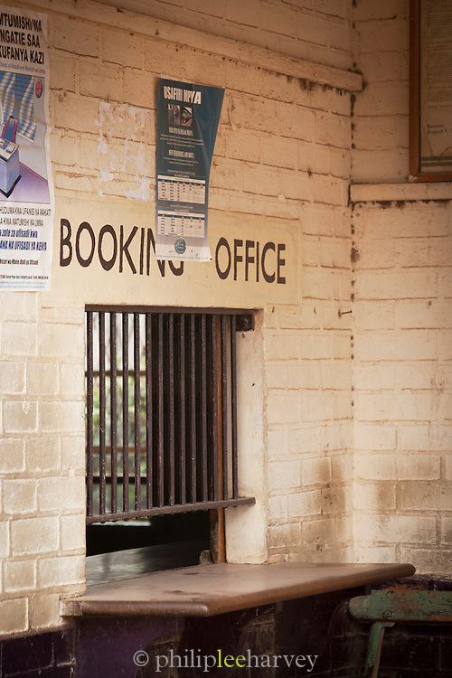 The ticket office at a small train station on the outskirts of Nairobi, Kenya