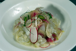 Halibut ceviche verde, an entree at Cala, the first U.S. restaurant from Mexican chef Gabriela Camara, Monday, April 4, 2016, in San Francisco, Calif. (Photo by D. Ross Cameron)